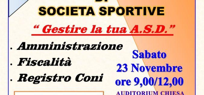 Corso per Dirigenti di Società Sportiva – 1^ modulo